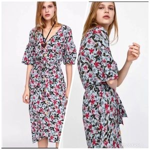 Belted Floral Print Midi Dress